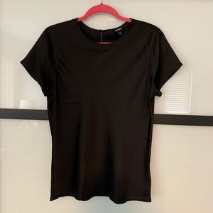 Silky black fitted top